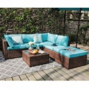 OC Orange-Casul 6-Piece Outdoor Patio Sectional Sofa Set Brown Wicker Furniture Set with Turquoise Seat Cushions & Tempered G
