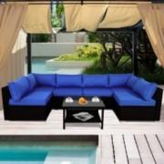 Patio Sofa Outdoor Rattan Couch Wicker 7PCS Sectional Conversation Sofa Lawn Garden Patio Furniture Set New Black Royal Blue