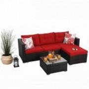 PHI VILLA Outdoor Sectional Rattan Sofa- Wicker Patio Furniture Set