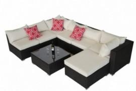 Do4U Patio Sofa 8-Piece Set Outdoor Furniture Sectional All-Weather Wicker Rattan Sofa Beige Seat & Back Cushions, Garden Law
