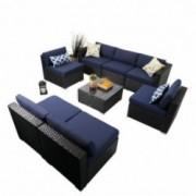 PHI VILLA Outdoor Sectional Sofa- Patio Wicker Furniture Set  8-Piece