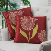 "18"" Red Tulip Fabric Throw Pillows (Set of 2)"