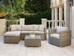 SOLAURA Outdoor Furniture Set 6-Piece Wicker Furniture Modular Sectional Sofa Set Grey Wicker with Light Grey Olefin Fiber Cu
