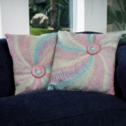 "18"" Multi-Colored Grey Flannel Starburst Pillows (Set of 2)"