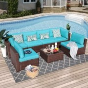 OC Orange-Casual Outdoor Sectional Sofa 7-Piece Wicker Furniture Set with Turquoise Seat Cushions, Glass Coffee Table & Singl