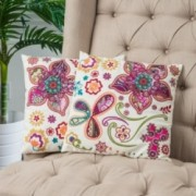 "18"" Ivory Paisley Floral Throw Pillows (Set of 2)"