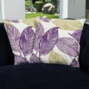 "18"" Linen Purple Tan Frond Leaf Fabric Throw Pillows (Set of 2)"
