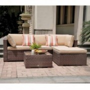 SUNSITT 5 Piece Patio Outdoor Furniture Set, All Weather Rattan Sectional Sofa with Ottoman & Washable Cushions, Brown Wicker