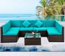 7 PCS Outdoor Rattan Wicker Furniture Set Garden Patio Sectional Sofa with Cushioned Seat and Glass Coffee Table for Poolside