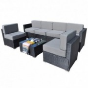 Mcombo Patio Furniture Sectional Set Outdoor Wicker Sofa Lawn Rattan Conversation Chair with 6 Inch Cushions and Tea Table Gr