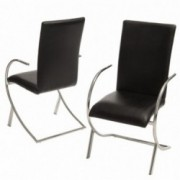 Rockville Black Leather Chairs (Set of 2)
