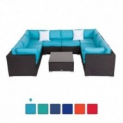 Peach Tree 9 PCs Outdoor Patio PE Rattan Wicker Sofa Sectional Furniture Set with 2 Pillows and Tea Table