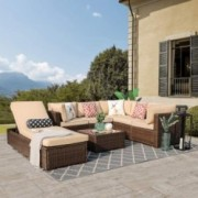 Patiorama Outdoor Furniture Sectional Sofa Set  Upgrade 7-Piece Set  All-Weather Brown Wicker with Beige Seat Cushions &Glass