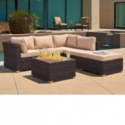 SUNCROWN Outdoor Patio Furniture Sectional Sofa  4 Piece Set  All Weather Brown Checkered Wicker with Beige Washable Seat Cus
