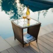 Easton Outdoor Brown Wicker Side Table