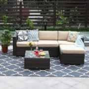 PHI VILLA 5-Piece Patio Furniture Set Rattan Sectional Sofa with Tea Table, Ottoman and Free Patio Sofa Cover, Beige