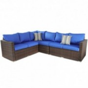 Outside Rattan Sofa Patio Furniture PE Rattan w/Cushion Outdoor Conversation Seating Pool Deck Couch Brown Wicker Royal Blue