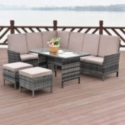 Tangkula 5 Pieces Patio Furniture Set Wicker Rattan Steel Frame Patio Outdoor Garden Conversation Set High Back Sectional Sof