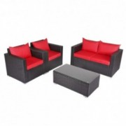 Kinbor New 4 PCs Rattan Patio Outdoor Furniture Set Garden Lawn Sofa Sectional Set Black  Red