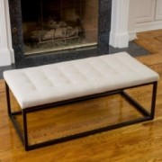 Denny Beige Fabric and Steel Frame Ottoman