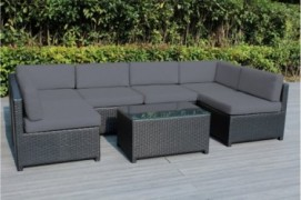 Ohana Mezzo 7-Piece Outdoor Wicker Patio Furniture Sectional Conversation Set, Black Wicker with Gray Cushions - No Assembly
