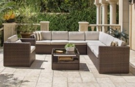 SOLAURA 7 Pieces Outdoor Sectional Furniture Brown Wicker Conversation Sofa Set with Light Brown Cushion and Glass Coffee Tab