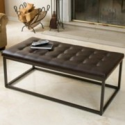 Denny Brown Leather and Steel Frame Ottoman