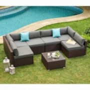 COSIEST 7-Piece Outdoor Patio Furniture Chocolate Brown Wicker Executive Sectional Sofa w Dark Grey Thick Cushions, Glass-Top