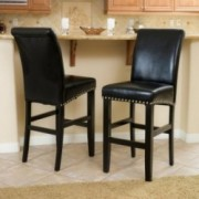 Clifton Black Leather Bar Stool (Set of 2)