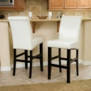 Clifton Ivory Leather Bar Stool (Set of 2)