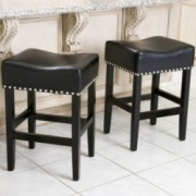 Chantal Black Leather Counter Stool (Set of 2)