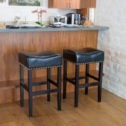 Chantal Black Leather Bar Stool (Set of 2)