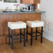 Chantal Ivory Leather Counter Stool (Set of 2)