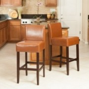 Lowry Hazelnut Leather Bar Stool (Set of 2)