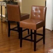 Gregory Hazelnut Leather Counter Stools (Set of 2)