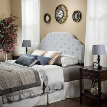 Canton Queen/Full Grey Fabric Headboard