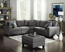 Lilola Home Sonoma Dark Gray Linen 6Pc Modular Sectional Sofa and Ottoman
