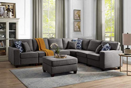 Lilola Home Casanova Dark Gray Linen 7Pc Modular Sectional Sofa and Ottoman