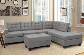 Merax Sectional Sofa with Chaise and Ottoman 3-Piece Sofa for Living Room Furniture, Gray