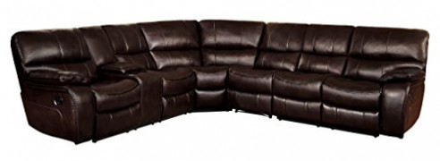 "Homelegance Pecos 105"" x 117"" Leather Gel Manual Reclining Sectional Sofa, Brown"