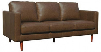 "Rivet Revolve Modern Leather Sofa Couch, 80""W, Chestnut"