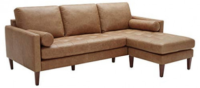 "Rivet Aiden Mid-Century Leather Sectional with Tapered Wood Legs, 86""W, Cognac"