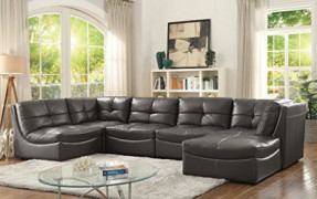 Esofastore Living Room Furniture 6pc Modular Sectional Sofa Leather Gel Corner Chairs Tufted Cushion Couch
