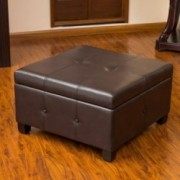 Codi Brown Leather Storage Ottoman Coffee Table