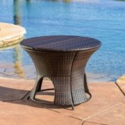 Alexandria Wicker Outdoor Storage Ottoman Table