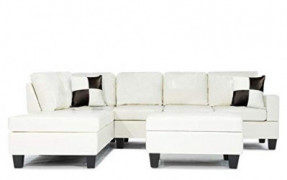 Casa AndreaMilano Soft Touch Reversible PU Leather 3-Piece Sectional Sofa Set, White