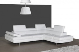 J and M Furniture A761 Italian Leather Sectional White, Modern