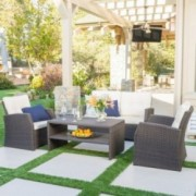 Del Norte Outdoor 4 Piece Dark Brown Wicker Chat Set with Beige Water Resistant Cushions