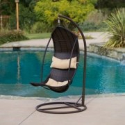 Thompson Outdoor Brown Wicker Swinging Lounge Chair