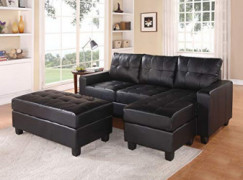 HomeRoots Sectional Sofa  Reversible Chaise  with Ottoman, Black Bonded Leather Match - Bonded Leather Match Black BLM
